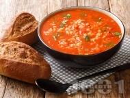 Рецепта Лесна и бърза доматена супа с ориз и магданоз
